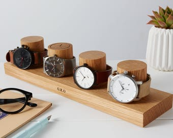 Four Column Watch Stand / Personalised Watch Storage / Gift for Him / Father's Day Gift / Personalized Watch Display