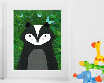 Skunk, Woodland Animals, Woodland Critters, Nursery, Animal Wall Art, Kids Room, Animals, Print