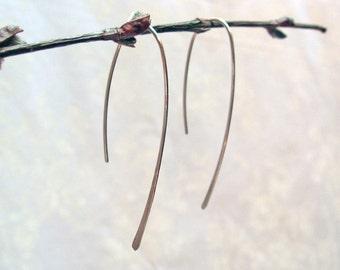 Long Hoop Earrings, Open Hoop Earrings, 925 Sterling Silver, Simple Modern Earrings, Wire Handcrafted, Threader Earrings, Hammered Design