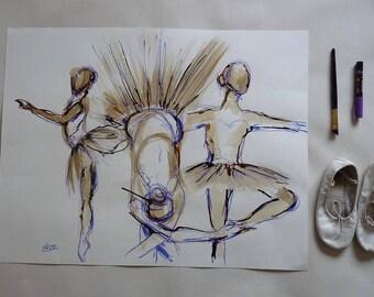 Danseuses Tutu Esquisse artistique  Danse classique Dessin Encre Crayon Originale Format 50 x 65 cm 19 x 25 inch Piece Unique Art
