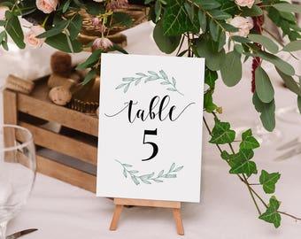 "Printable Table Numbers - Belle Green Laurel Set of 1-60 - Black and Green Rustic Wedding-Instant Digital Download - PDF - 4"" x 6"" - #GD0109"