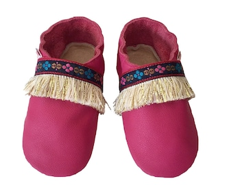 Fushia Baby Girls Shoes, Boho baby shoes, Toddler first Shoes, Baby leather Shoes, Soft sole shoes, Baby shoes girls, Handmade Australia,