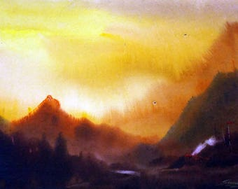 Sunset Himalaya Landscape -Original Watercolor Painting on Paper , Painting,watercolor landscape,landscape painting