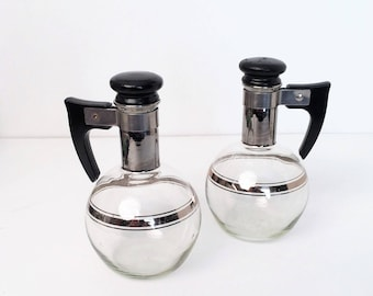 Retro Cruets, Mid Century Silver Band Decanter Glass Cruet Oil Vinegar