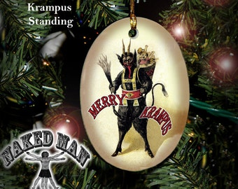 Krampus Ornament, Standing, Porcelain with Gold Cord
