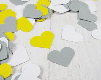 Yellow Gray White Heart Confetti - Yellow and Grey Paper Hearts - Gray and Yellow Baby Shower