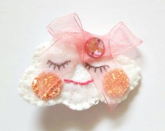 Felt cloud hairclip with pink ribbon bow
