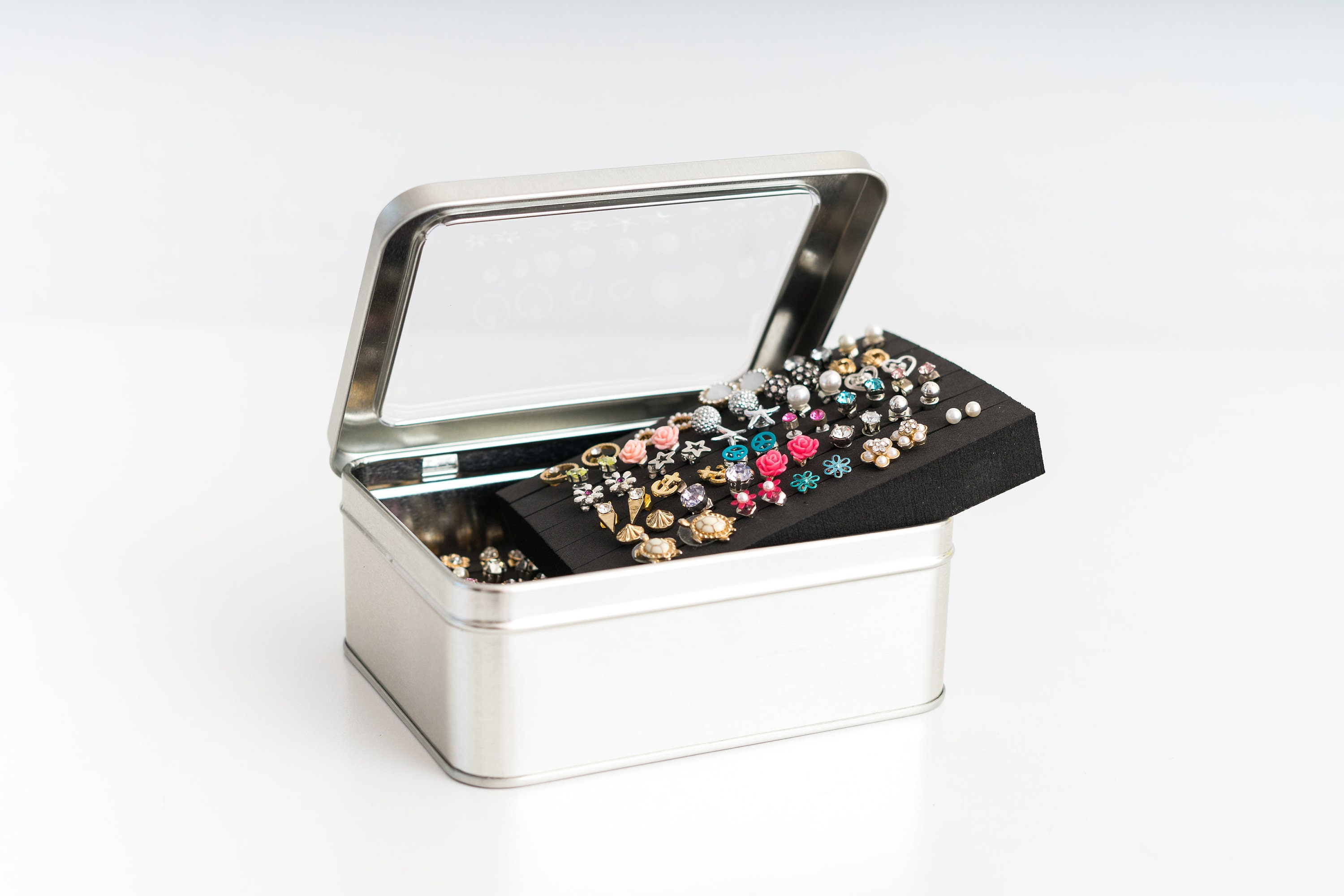 Tin Jewelry Box Earring Holder EXTRA LAYER Travel Earring Box