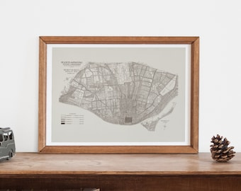 ST. LOUIS MAP - Historical Map of St. Louis Missourri, Office Wall Art, Professional Reproduction