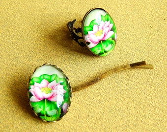 Flowers, ring and barrette set
