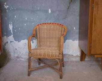 Vintage Childs Wicker Rattan Chair / French Vintage Chair / Childrens Vintage Chair / Kids Chair / Rattan Chair / Small Childs Chair