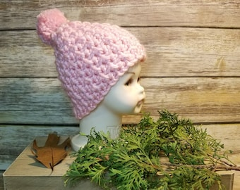 Crochet slouchy hat, childs pink hat, kids pink hat, ready to ship hat, handmade kids hat,
