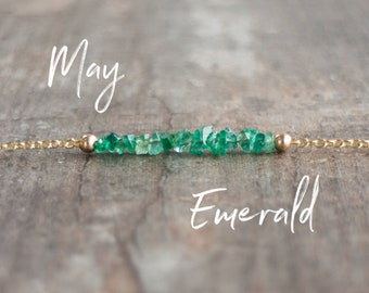 Emerald Necklace, Raw Crystal Necklace, Gift for Mom, Gift for Her, Bridesmaid Gifts, Natural Stone, Crystal Choker, May Birthstone Necklace