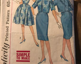 Vintage 50s Simplicity 4360 Dress and Suit Pattern-Size 15 (35-27-37)