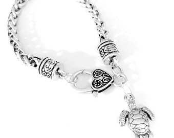Sea Turtle Ocean Beach Nautical Animal Gift For Her Charm Bracelet