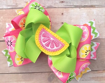 Spring/Summer Hair Bows~Summer Fruit Hair Bow-Citrus Hair Bow~Lemonade Hair Bow~Glitter Fruit Hair Bow~Pink Hair Bows~4 Inch Hair Bow