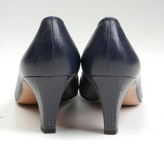 Vintage AAAA Silver Kitten Blue Pumps Navy 5 1970s 8 Checker Heels Sz Shoes Nailhead Toe 70s Ferragamo Narrow Italy pwgCqWPT