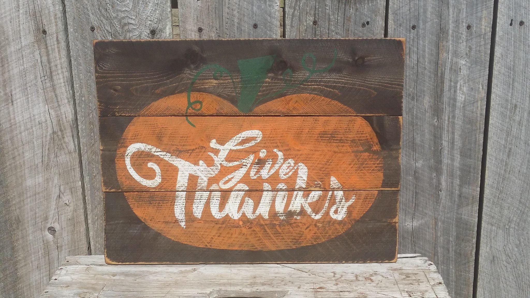 Give Thanks Pumpkin Fall Rustic Sign Wood Autumn Wall Art