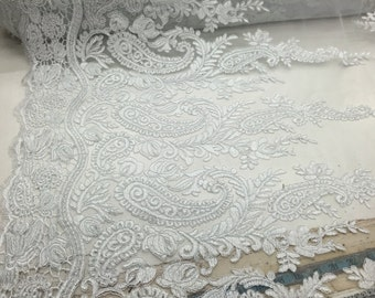 White paisley flower design embroider on a mesh lace-wedding-bridal-prom-nightgown fabric- sold by the yard.