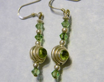 Peridot, Sterling Silver and Crystal Drop Earrings