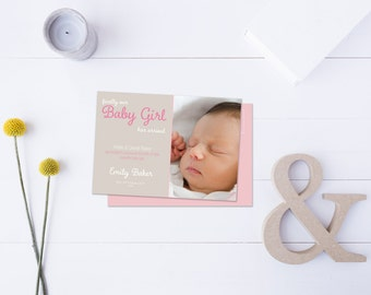 Baby Girl Arrival Post Card // Insert your own Baby Picture // Pink and Neutral Tones // DIY Printable File // Digital PDF File
