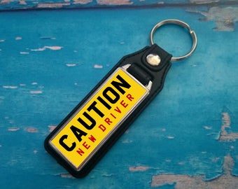 Silver Plated Keyring - Key Ring - Key Chain - CAUTION NEW DRIVER  key fob - Yellow - Just passed test - Great gift
