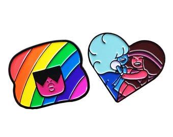 Garnet, Ruby, and Sapphire Steven Universe Enamel Pin Set