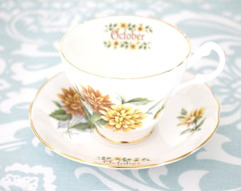 OCTOBER TEA CUP, Vintage English Bone China Tea Cup and Saucer by Royal Stuart, Replacement China, Gifts for Her