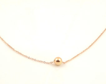 Rose Gold Filled Ball Necklace // Tiny Bead Minimalist Jewelry for Layering // Fashion Gifts for Sister