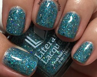 Tia Wanna - Aqua Blue Glitter Jelly Polish