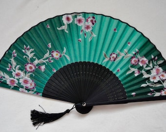 Silk Green Floral Hand Fan with sleeve -Handheld Folding Fan, Japanese Hand Fan,Japanese folding fan,