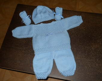 set top, pants, hat and baby booties size 3 months