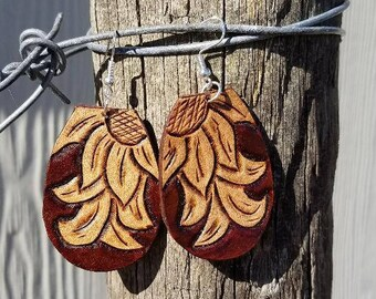 Leather Sunflower Scroll Earrings