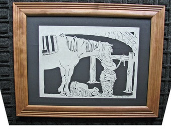 Boy With Horse - Scherenschnitte - Hand Paper Cutting Art signed and dated By Janet Lynch -11x14 Framed
