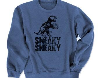 Dinosaur Sweatshirt Sneaky dino with cake funny T-rex sweatshirt hipster trendy crewneck shirt scene sweater PjaQTm