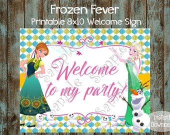 Frozen Fever Welcome Sign, Frozen Fever Birthday Sign, Frozen Fever Birthday Party, Frozen Fever Party Sign, Frozen Fever Party Decorations