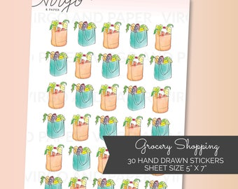 Track your Grocery Shopping with these Hand drawn Grocery Bag Planner Stickers - Grocery Shopping, Grocery bag planner stickers