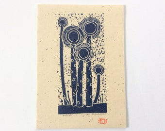 linocut - OUTPOST // 5x7 art print // printmaking // block print // nature art // sprouts // seedlings // dark blue // original // miniature
