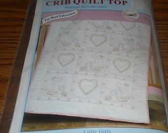 20% Off Jack Dempsey Needle Art Kit~Crib Quilt Top~Little Girls Design~#4060-21