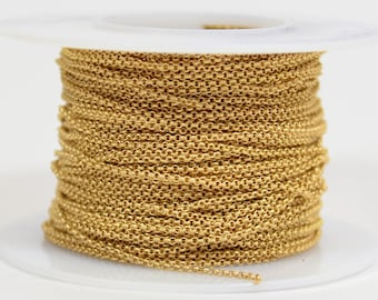 1mm Rolo Chain - Matte Gold - 1.0mm Links - CH130