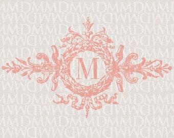 Ornate Wreath Custom Wedding Monogram - Wedding Logo - Wedding Crest