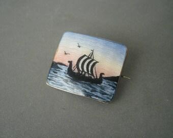 Romantic antique silver guilloche enamel 'Viking Boat' brooch, Norway.