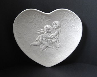 Vintage White Decorative Ceramic Heart Platter With Cherubs Cupid Made in Italy