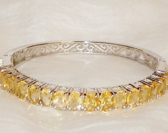 Citrine Bangle Bracelet Natural 87TCW, 7 x 5mm Yellow Citrine gemstones, 14kt white gold, Silver Bangle Bracelet 7""