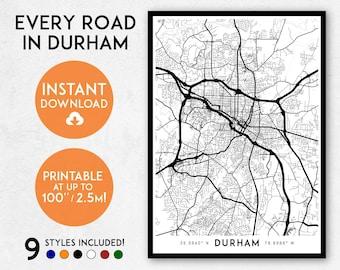 Durham map print, Printable Durham map art, Durham print, USA map, Durham art, Durham poster, Durham wall art, Durham North Carolina map