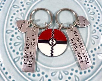 My Best Catch Pokemon Keychain Set, Couples Gift, Anniversary, boyfriend girlfriend, husband wife, pokeball, personalized gift