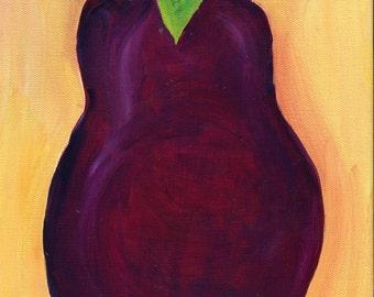 Eggplant acrylic painting canvas art, original food wall art 9 x 12 vegetable kitchen art SharonFosterArt Farmhouse decor