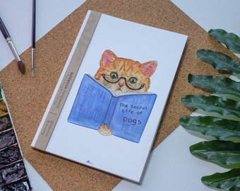 Chat aquarelle carnet de notes à la main, couverture rigide journal, Illustration, carnet, carnet de croquis, journal intime, cadeau, 21 × 14.8