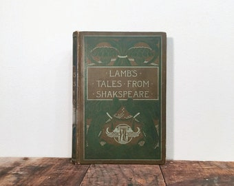 Victorian Book: Lamb's Tales from Shakespeare, Decoratively Bound Antique Book, Vintage Home Decor