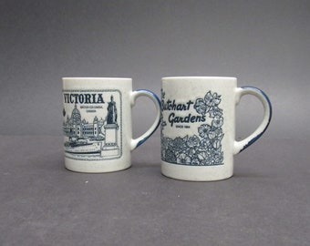 Vintage Speckled British Columbia Souvenir Coffee Mugs, Set of 2 (E10395)